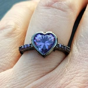 Jewelry - New black gold filled purple rhinestone ring
